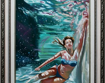 "Original oil painting ""Space in the water"""