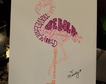 hand drawn inspirational word art flamingo