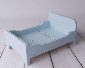 Light blue wooden bed, newborn photo prop, vintage style, newborn prop, newborn bed, photography props