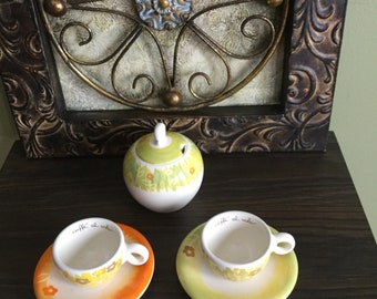 THUN ESPRESSO SET set of two cups and sugar bowl multicolored