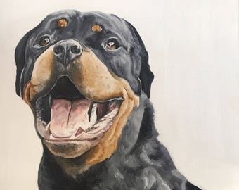 Customized Realistic Dog Portrait-Oil Paint-Solid Background