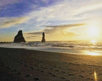 Black Sand Beach, Iceland at sunset time