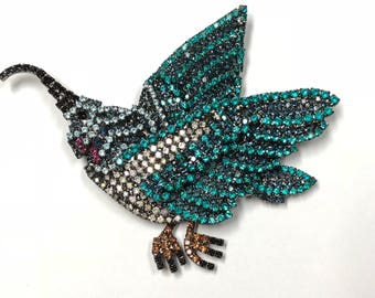 Colorful Hummingbird Brooch