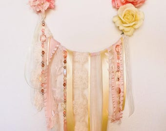 Pink & Yellow Floral Ribbon Hoop