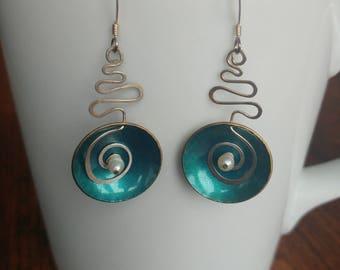 Blue wire dangle earrings