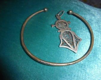 Moroccan Jewelry, old Saharan/Tuareg silver open bracelet & filigree southern cross