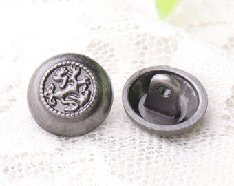 12pcs 12*8mm small buttons round shank buttons metal light black buttons embossed buttons vintage buttons