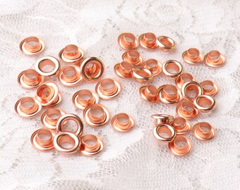 rose gold eyelets 100pcs 2 size 7*3*3/8*3.5*3mm metal eyelets copper grommets for shoes,clothes,leather, canvas