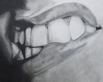 """12x16"""" Original Charcoal Drawing- Realism, Figure, Mouth"""