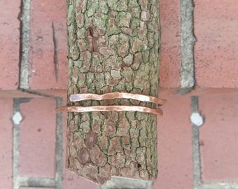 Copper, coated,  sealed,  polished, bangle, adjustable, bracelet, handmade, hammered, unique, heavy gauge wire.