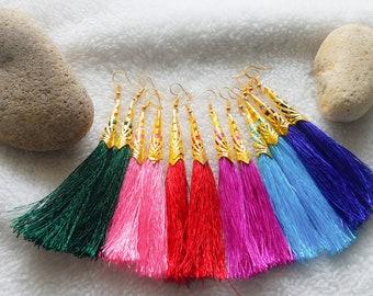 Bohemian Tassel Earrings, Bohemian Earrings, Tassel Earrings, Blue Earrings, Drop Earrings