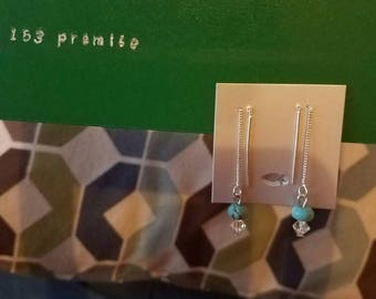 Sterling silver thread earrings
