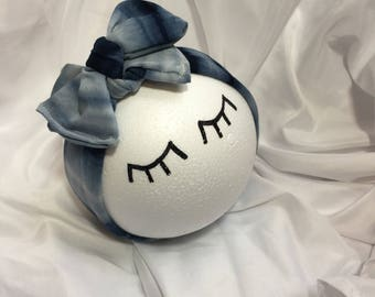 Head wrap bow - Blue and white