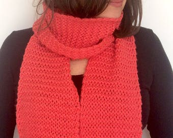 Knitted Scarf / Coral Scarf / Wool Scarf / Bufanda larga / Super Long Scarf / Woman gift / Girl gift / Red scarf / Long Winter Scarf