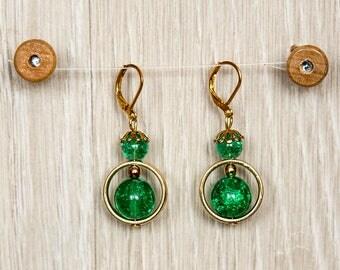 Earrings/beaded ring with Rünen Crackleperlen