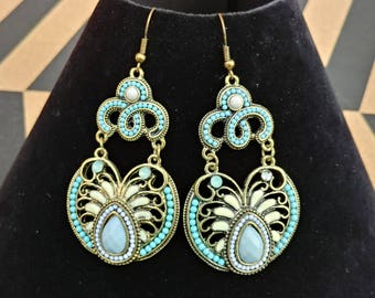 Turquoise and Gold Costume Earrings