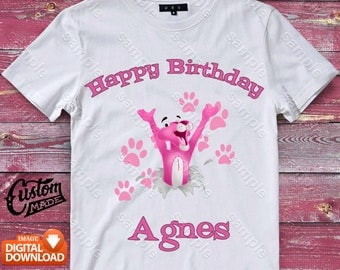 Pink Panther Iron On Transfer, Pink Panther Birthday Shirt DIY, Pink Panther Printable, Pink Panther, Personalize, Digital Files