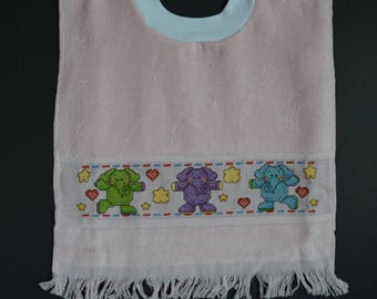 Cross Stitched Toddler Bib - Pullover Style