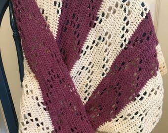 Lacey Purple and White Baby Blanket