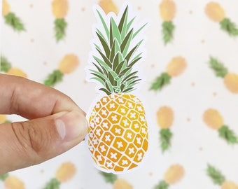 Cute Pineapple Sticker  - Hand Drawn Stickers - Pineapple Stickers - Hawaii Vacation Stickers - Cute Fruit Stickers - Pineapple Stickers