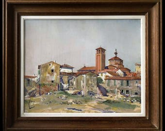 Table attributed to YVES BRAYER gouache - Italy 1930 - landscape study unsigned-