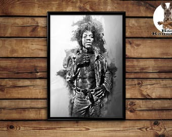 Jimi Hendrix print wall art home decor poster