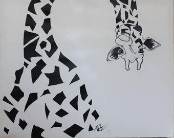 Abstract Giraffe Painting