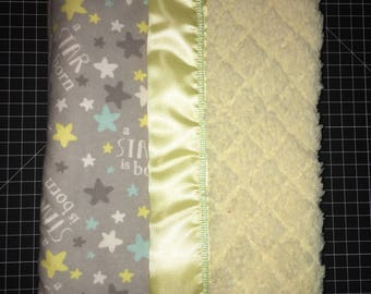 """Pale yellow and grey """"A star is born"""" cuddle and flannel baby blanket"""