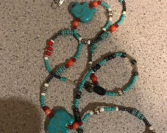 Turquoise Elephant Eyeglass Chain