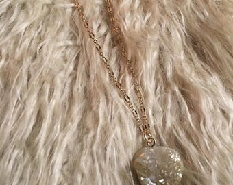 Druzy stone gold necklace