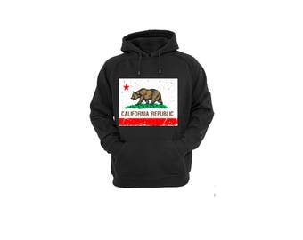 Hoodies for Women and Men California State Flag , Unisex California Republic Vintage Cotton Pullover Sweatshirt