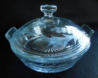 Etched Candy Dish with Lid/Heisey Glass