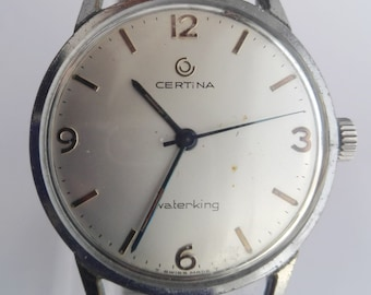 Certina Waterking mechanical watch, stainless steel Swiss made vintage men's wrist watch, 70's