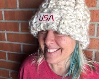 crochet chloe kim olympics hat