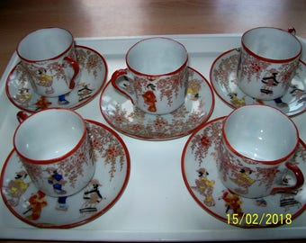Vintage set of 5 Japanese Cups & Saucers, hand painted with Geisha Girls