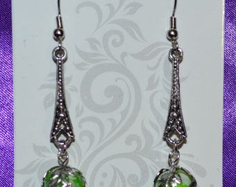 Green Shell Bead Earrings