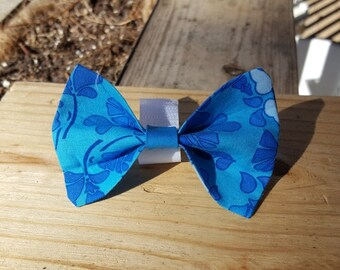 Small Dog Cat Bow Tie Accessory - Turquoise Flower Pattern