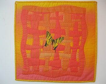 "Art Quilt = ""Butterfly on Coral"""