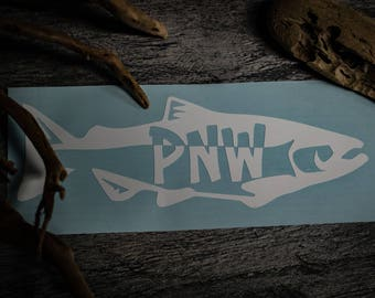 "Pacific Northwest Vinyl Decal-""PNW Salmon"""