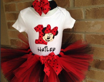 Red and Black Minnie Mouse Birthday Tutu Set