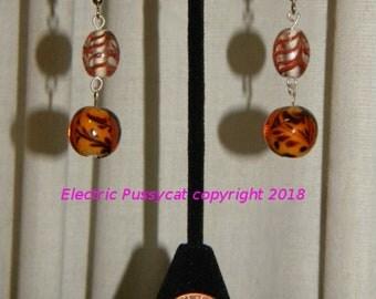 Amber and Silver Earrings, Glass Beads, Boho Earrings, Drop Earrings, Dangle Earrings