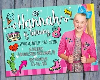Jojo Siwa Birthday Invitation, Jojo Siwa Party Card Invite, Nickelodeon Printable, Jo Jo Siwa Digital Invitations, Custom Printables