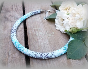 Necklace tube Colored Necklace Seed bead necklace Crochet rope Rope necklace Crochet necklace Beaded rope necklace Choker Necklace turquoise