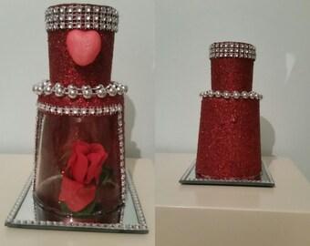 Red rose glittered glass candleholder