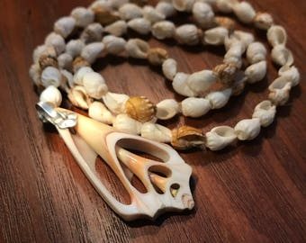 Beautiful hand cut sea shell pendant with shell beaded necklace
