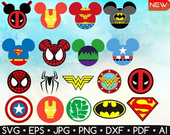 Superhero Svg • Superhero Mickey Mouse Ears Svg • Superhero Logo Svg • Superhero Set • Cricut, InkScape, Silhouette Studio • Insta Download