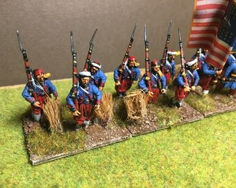 Painted 28mm American Civil War Zouaves