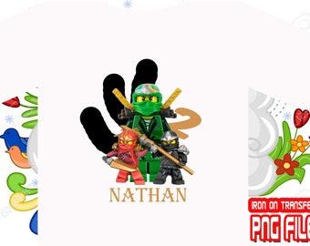 Ninjago Birthday Shirt, Ninjago Iron On Transfer, Ninjago Shirt DIY, Boy Birthday Shirt, Ninjago Party, Personalize Name, Digital File