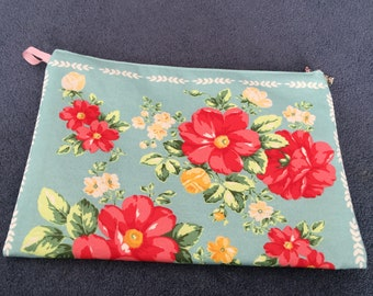 Floral zippered cosmetic bag