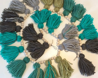 """57"""" Tassel Garland with natural wood beads"""